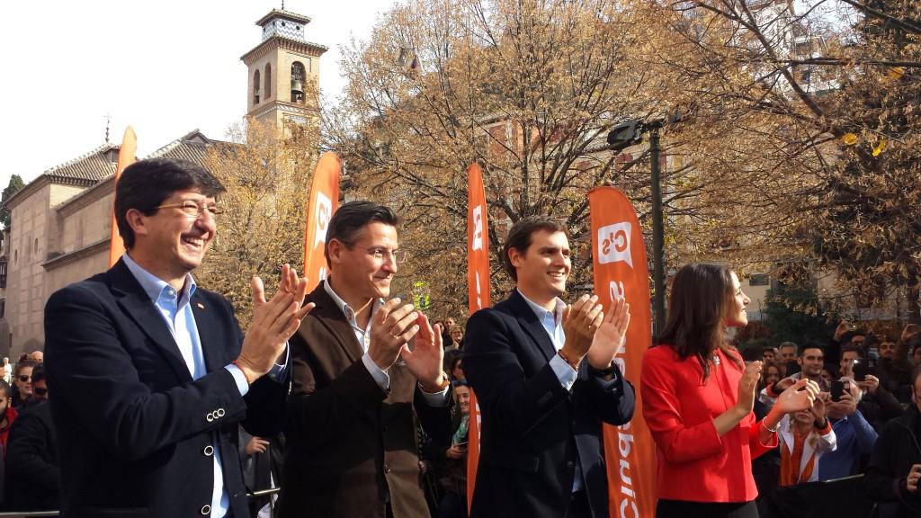 Juan Marín, Luis Salvador, Albert Rivera e Inés Arrimadas, en Granada